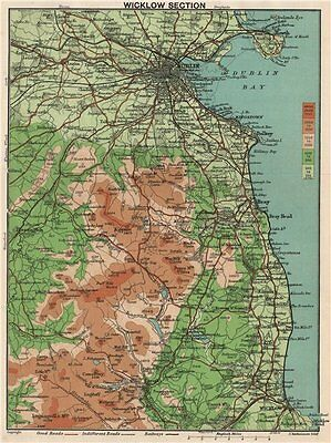WICKLOW MOUNTAINS and Dublin. Vintage map. Ireland 1902 old antique chart