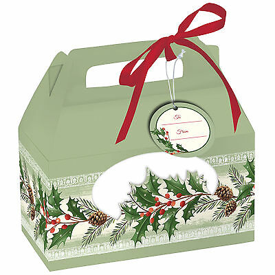 4 x Christmas Holly & Pine Cookie Boxes - Christmas Gift packaging boxes FREE PP