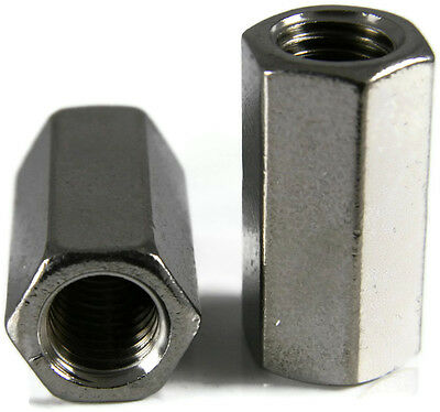 Stainless Steel Coupling Nuts, Threaded Rod UNC,  1/2-13 X 5/8 x 1-1/4, Qty 10