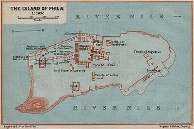 THE ISLAND OF PHILAE. Temple of Isis. Ground plan. Egypt. BAEDEKER 1914 map