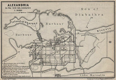 ALEXANDRIA IN THE 3RD-5TH CENTURIES antique town city plan. Egypt 1914 old map