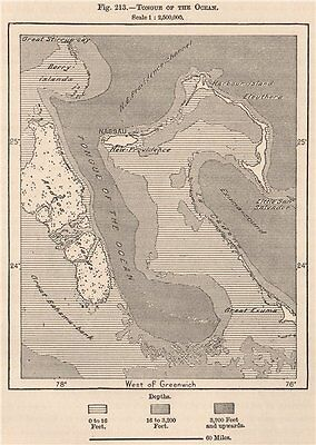 Tongue of the Ocean. Bahamas 1885 old antique vintage map plan chart