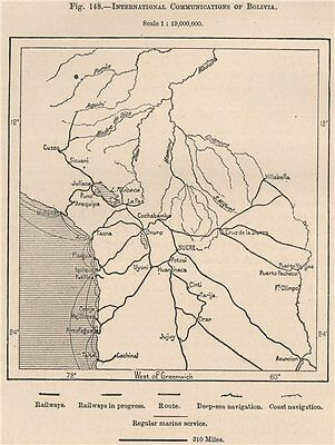 International communications of Bolivia 1885 old antique map plan chart