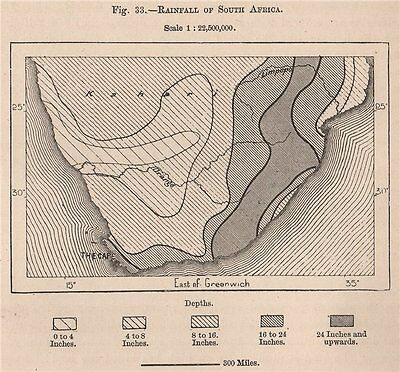 Rainfall of South Africa 1885 old antique vintage map plan chart