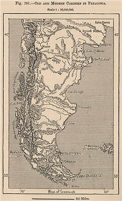 Old and modern colonies in Patagonia. Argentina Chile 1885 antique map