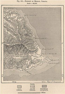 District of Morant, Jamaica 1885 old antique vintage map plan chart
