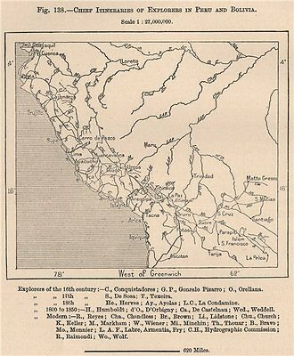 Chief Itineraries of explorers in Peru and Bolivia. Andean States 1885 old map