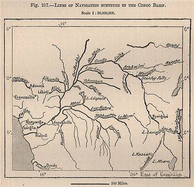 Lines of navigation surveyed in the Congo Basin 1885 old antique map chart