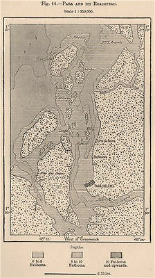 Para (Belem) and its roadstead. Brazil. Amazonia 1885 old antique map chart