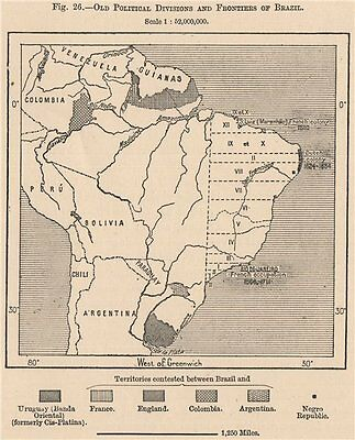 Old Political divisions & frontiers of Brazil. Disputed borders 1885 map