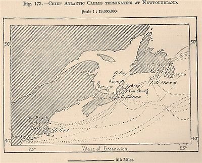 Chief Atlantic cables terminating at Newfoundland. Canada 1885 old antique map