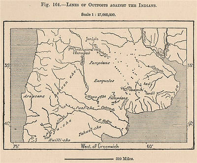 Lines of Outposts Against the Indians. Argentina 1885 old antique map chart