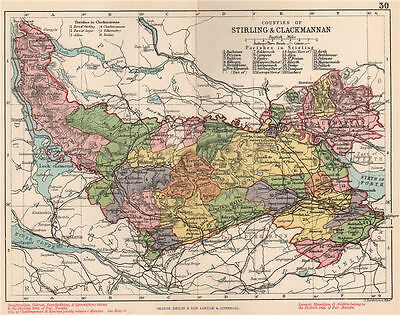 Stirlingshire & Clackmannanshire counties. BARTHOLOMEW 1891 old antique map
