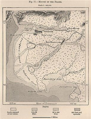 Mouths of the Fraser River. Canada 1885 old antique vintage map plan chart
