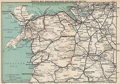 NORTH WALES. Railways, cycling & bus routes. BARTHOLOMEW 1902 old antique map