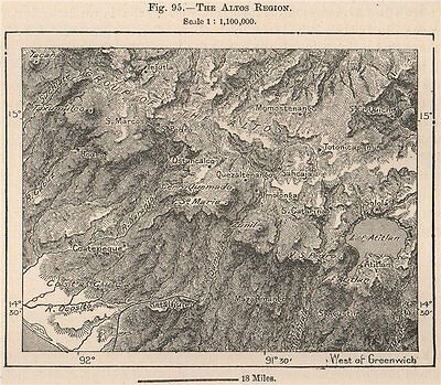 Los Altos region. Guatemala. Central America 1885 old antique map plan chart