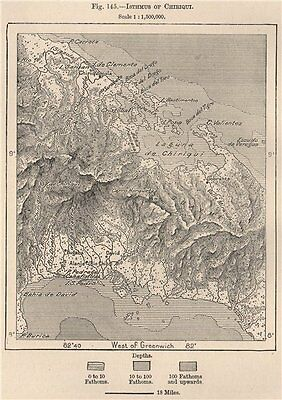 Isthmus of Chiriqui. Panama 1885 old antique vintage map plan chart