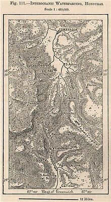 Interoceanic Waterparting, Honduras. Central America 1885 old antique map