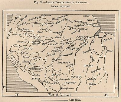Indian Populations of Amazonia. Amazonas. South America 1885 old antique map