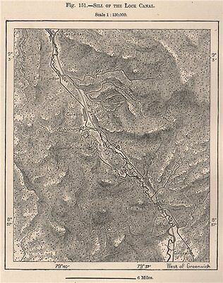 Sill of the Lock Canal. Panama 1885 old antique vintage map plan chart