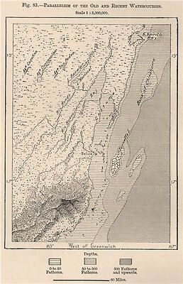 Parallelism of the old & recent Watercourses.Belize.British Honduras 1885 map