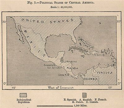 Political States of Central America 1885 old antique vintage map plan chart