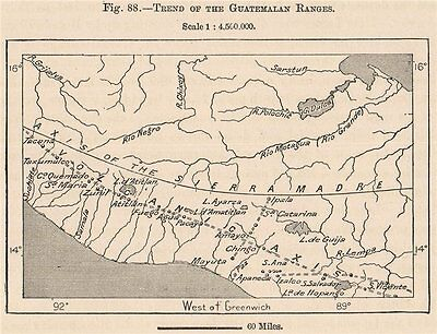 Trend of the Guatemalan ranges. Sierra Madre. Central America 1885 old map
