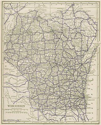 Wisconsin State Highways. POATES 1925 old vintage map plan chart