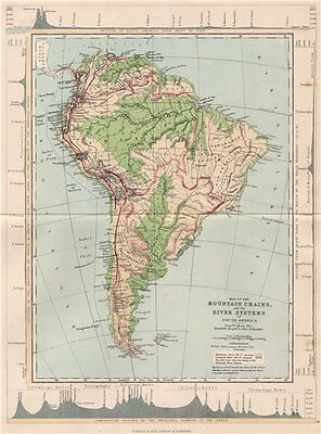 SOUTH AMERICA. Map Mountain Chains & river systems of 1886 old antique
