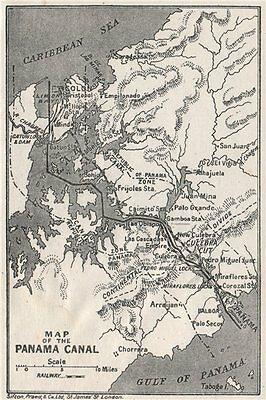 PANAMA CANAL. Vintage map. Railway. Shows canal zone. Caribbean 1927 old