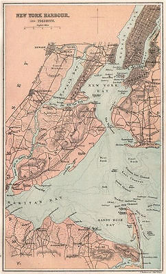 New York Harbour and Vicinity. Manhattan. BARTHOLOMEW 1886 old antique map