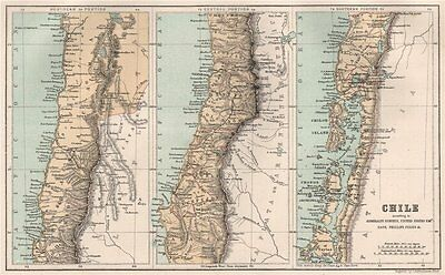 Chile according to the Admiralty US Expedition Gaye Phillipi Pissis 1886 map