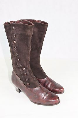 Vintage Brown Button Victorian-Style Ankle Boots Leather & Suede Size UK 5 EU38