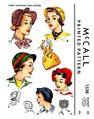 Vintage McCall Millinery Hat & Bag Fabric Material Sewing Pattern  #1538