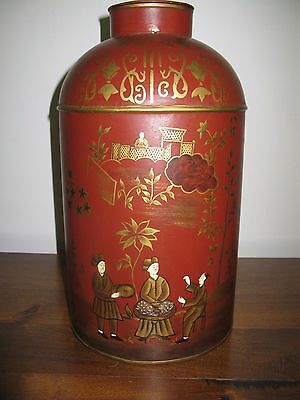 19thc Reproduction Chinese Tea Tin Tole Toleware Mercantile Store Canister