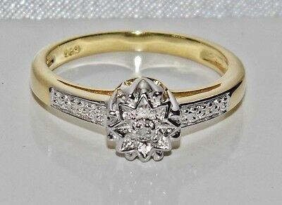 Beautiful 9ct Yellow Gold & Silver Diamond Fancy Engagement Ring - size O