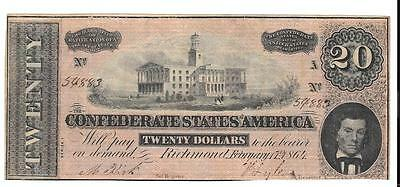 $20 Confederate Currency Note, VF Condition - P37