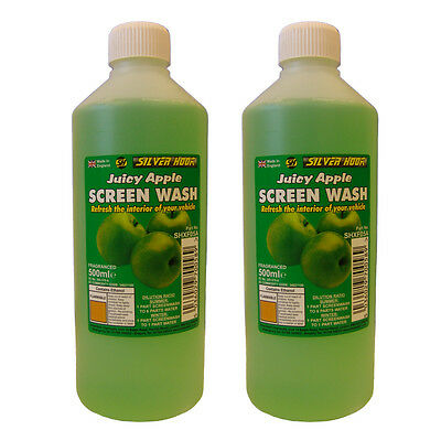 2 x Silverhook APPLE Scent Car Windscreen Screen Wash Concentrate Cleaner 500ml