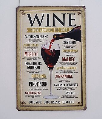WINE Advertising Vintage metal Tin sign Home Pub Bar wall decor Plaque TP478