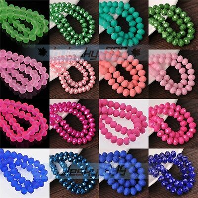 Rondelle Faceted Glass with Color Coated Loose Spacer Beads 4mm 6mm 8mm 10mm