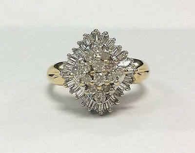 Estate Jewelry 14K White and Yellow  Gold Ring  Diamonds  Approx 1 1/2 ct Total