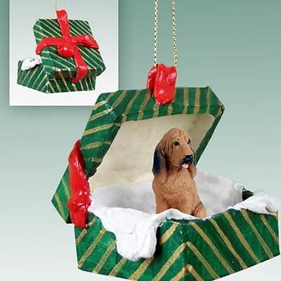 BLOODHOUND Blood Hound Dog Green Gift Box Holiday Christmas ORNAMENT