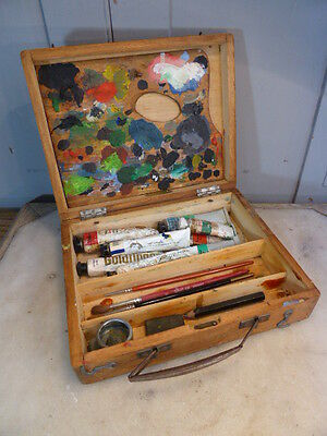 Vintage small wooden paintbox & misc contents no 2