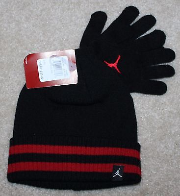 New! Boys Nike Air Jordan Gloves and Hat Set (Black/Red) -Youth 8-10-12-14-16
