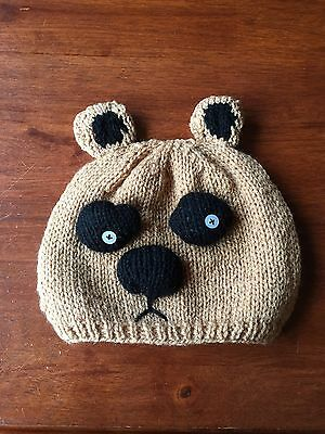 HAND KNITTED Brown Bear Beanie Hat Child Size