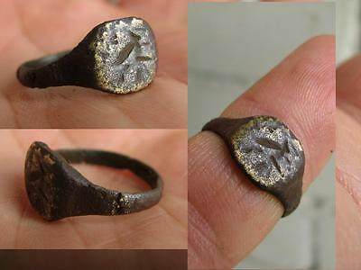 NICE BRONZE MEDIEVAL  RING with ORNAMENT   # 4523