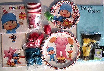 POCOYO Birthday Party Supply SUPER Kit for 8 w/Balloons, Ribbins & Thank yous