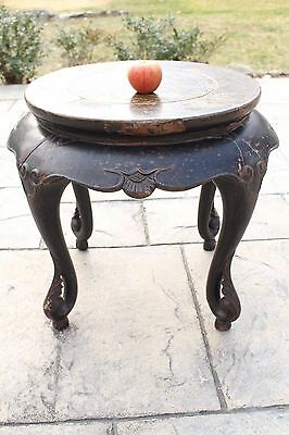 Very Old Distressed Antique Chinese Carved Wood Low End Side Table 19th Century?