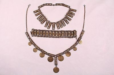 Antique Islamic Ottoman Turkish Necklace Bracelet Anklet Set Filigree Fine Work