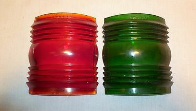 Vintage N.M.L. Co. Green and Red Lantern Glass Lens - Railroad Ships